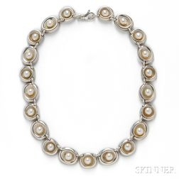 Sterling Silver and Cultured Pearl Necklace, Robert Lee Morris