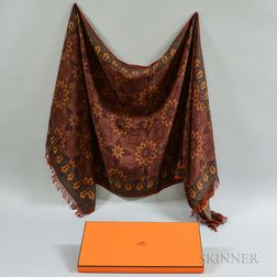 Silk and Cashmere Red and Orange Scarf