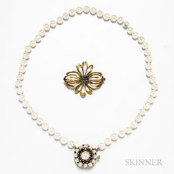 14kt Gold and Tanzanite Brooch and Cultured Pearl Necklace