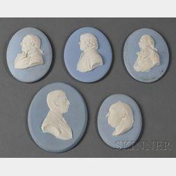 Five Wedgwood Solid Light Jasper Portrait Medallions