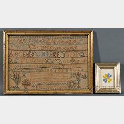Mary Ann M. Locke's Needlework Sampler and Paper Cutwork Reward of Merit