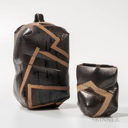 Makoto Yabe (1947-2005) Studio Pottery Covered Vessel and Vase