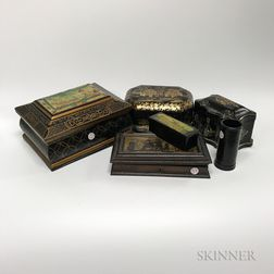Eight Mostly Lacquered Boxes and Holders