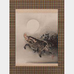 Hanging Scroll Depicting a Wild Boar