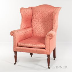 Carved Mahogany Wing Chair