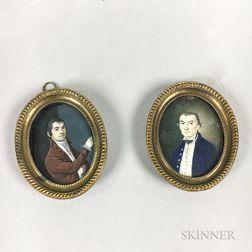 Two Framed Portrait Miniatures of Gentlemen