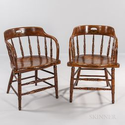 Pair of Oak Odd Fellows Armchairs