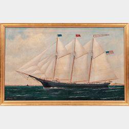 William P. Stubbs (Maine/Massachusetts, 1842-1919)      Portrait of the Three-masted Schooner Benjamin Cromwell