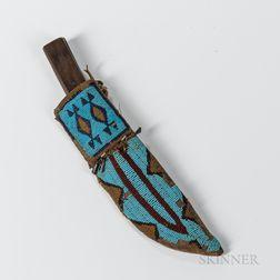 Plains Beaded Hide Knife Sheath