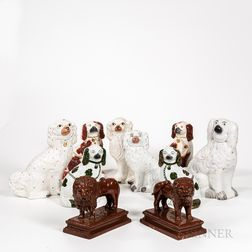 Eight Staffordshire Spaniels and a Pair of Redware Lions