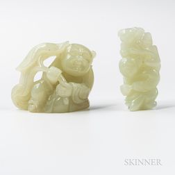 Two Jade Carvings of Boys