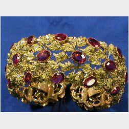 18kt Gold and Pink Tourmaline Cuff Bracelet