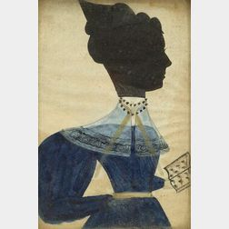 Attributed to the Artist Known as the Puffy Sleeve Artist active c. 1830 Miniature Silhouette Portrait of a Woman Wearing a Blue Dress