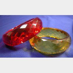 Two Bakelite Prystal Bracelets