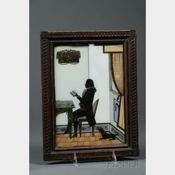 Eglomise Gilt and Polychrome Painted Silhouette Portrait of a Gentleman
