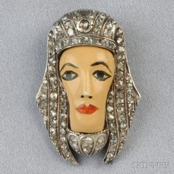 Egyptian Revival Figural Clip Brooch