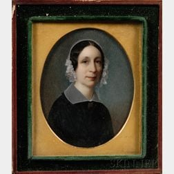 Pair of Portrait Miniatures and Three Related Daguerreotypes
