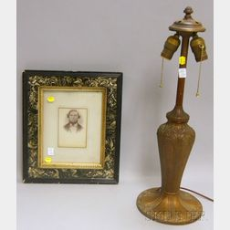 Victorian Faux Marble Black Lacquered Frame with Gilt Liner and a   Painted Cast Metal and Iron Table Lamp Base