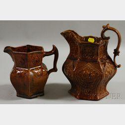 Two Bennington Pottery Rockingham Glazed Pitchers