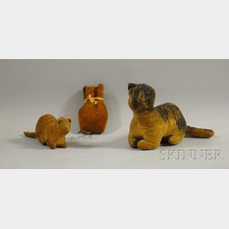 Two Folk Art Stuffed and Painted Cloth Toy Cats and a Cat-form Pincushion