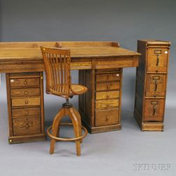 Large Oak Pedestal Desk with High Swivel Chair and File Cabinet