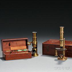 Two Brass Monocular Microscopes