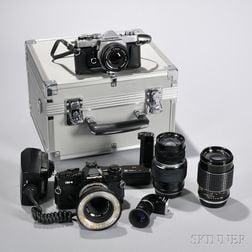 Two Olympus Cameras and Accessories