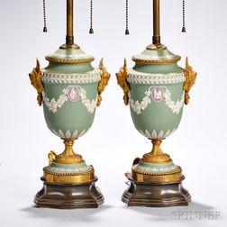 Pair of Wedgwood Tricolor Jasper Dip Lamp Bases