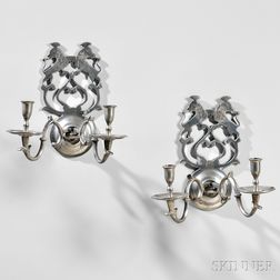 Pair of Pewter Two-light Sconces
