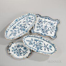 "Four Meissen ""Blue Onion"" Pattern Porcelain Trays"