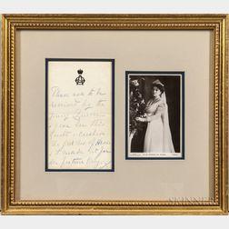 Feodorovna, Alexandra, Empress of Russia [Alix of Hesse] (1872-1918) Autograph Note.