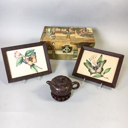Two Framed Floral Prints, a Box, and a Ceramic Teapot.