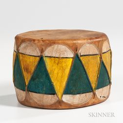Taos Painted Wood and Rawhide Drum