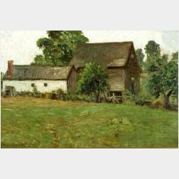 Henry Orne Rider (American, b. 1860)  Gray Day, Farm Buildings, Stow, Mass