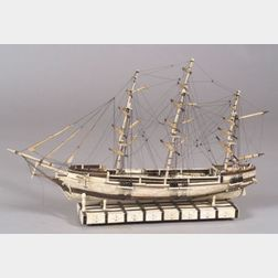 Ivory, Whalebone, and Baleen Veneer Model  of the Clipper Ship Rainbow