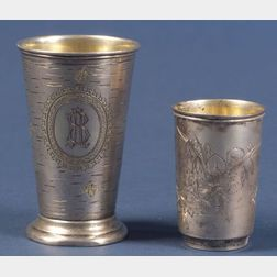 Two Russian Silver Beakers