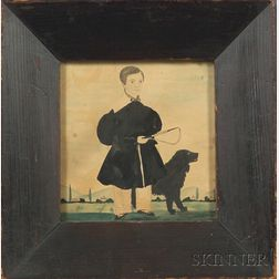American School, 19th Century    Miniature Portrait of a Boy and His Dog.