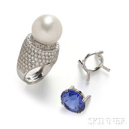 Platinum, Tanzanite, and South Sea Pearl Interchangeable Ring