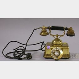 Vintage French Brass Telephone