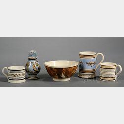Five Small Mochaware Items