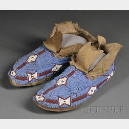 Central Plains Beaded Hide Youth's Moccasins