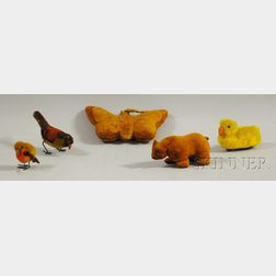 Five Assorted Cloth Bird, Animal, and Insect Toy Figures