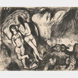 Marc Chagall (Russian/French, 1887-1985)      La Vieille et les deux servantes