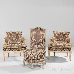 Two Painted French Fauteuils and a Slipper Chair