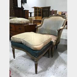 Two Louis XVI-style Carved and Gilt Bergeres and a Footstool