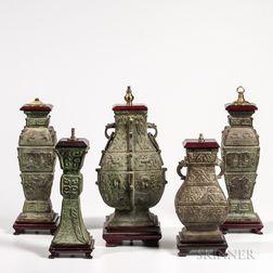 Five Archaic-style Bronze Lamp Vases