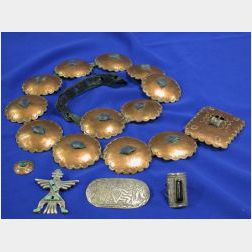 Small Group of Native American Jewelry Items and a Copper Concha Belt.