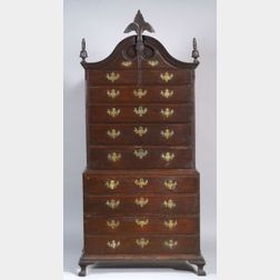 Chippendale Carved Tiger Maple Chest on Chest