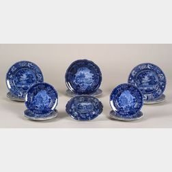 Sixteen Blue Transfer Decorated Staffordshire Plates