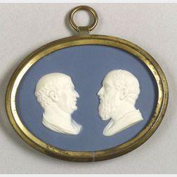Wedgwood & Bentley Solid Blue Jasper Double Portrait Medallion